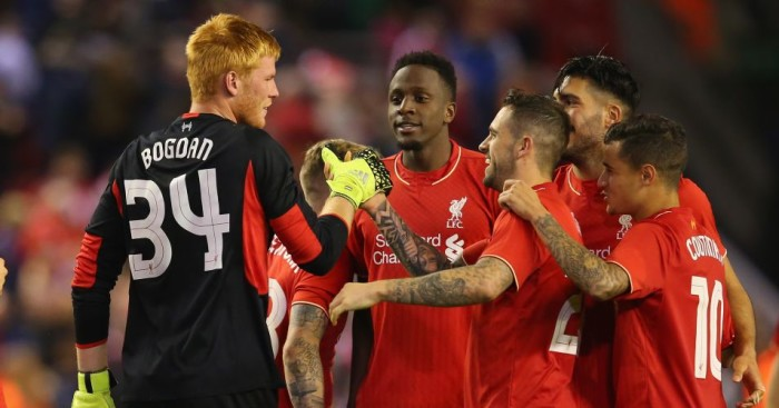 Adam Bogdan: Cpngratulated by Liverpool team-mates after penalty shootout win over Carlisle