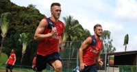 Callum Chambers and Aaron Ramsey: Competed in Rugby World Cup challenge