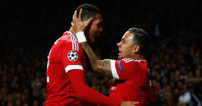 Chris Smalling: Congratulated by Memphis Depay after scoring Manchester United's winner