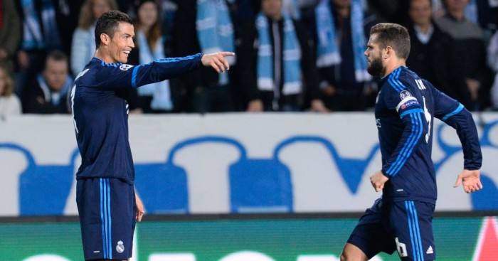 Cristiano Ronaldo: Celebrates with Nacho after scoring Real Madrid's opener against Malmo