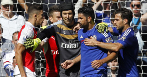 Diego Costa (r): Squares up with Gabriel
