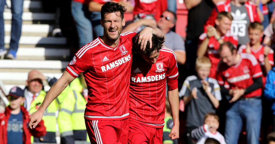 Diego Fabbrini (r) and David Nugent : Celebrate at The Riverside