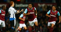 Dimitri Payet: Celebrates scoring West Ham's second against Newcastle
