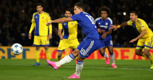 Eden Hazard penalty miss Chelsea TEAMtalk