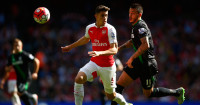 Gabriel (left): Could have been sent off in Arsenal's win over Stoke