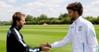 Tim Sherwood (l): Feels Rudy Gestede (r) can be vital for Aston Villa