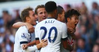 Heung-min Son (far right): Celebrates his goal with team-mates