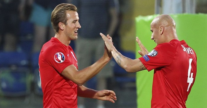 Harry Kane (left): Scored England's fifth against San Marino