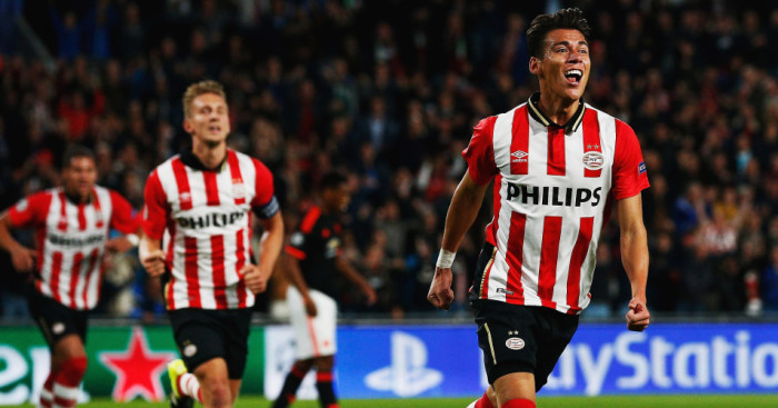 Hector Moreno: Celebrates his equaliser against Manchester United