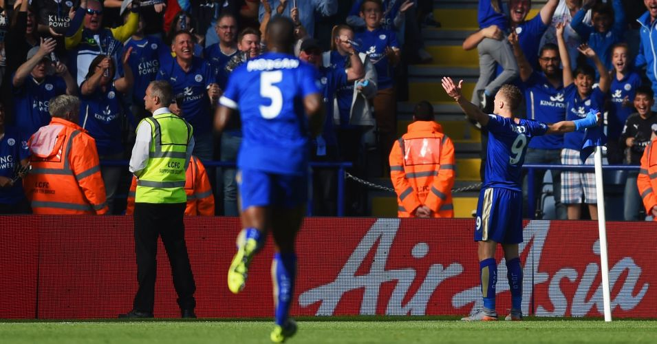 Jamie Vardy: Scored twice against Arsenal despite arm injury