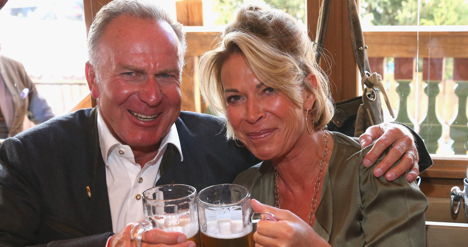 Karl-Heinz Rummeingge, CEO of FC Bayern Muenchen attends with his wife Martina Rummenigge