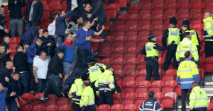 Leeds fans: Clash with stewards and police