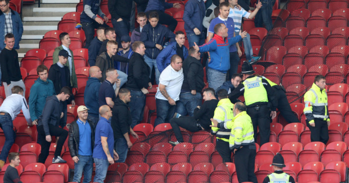 Leeds fans confront police at The Riverside