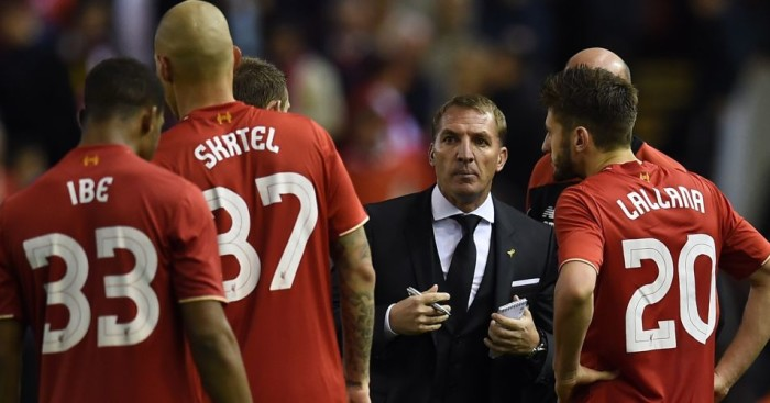 Brendan Rodgers: Gives his players a pep talk