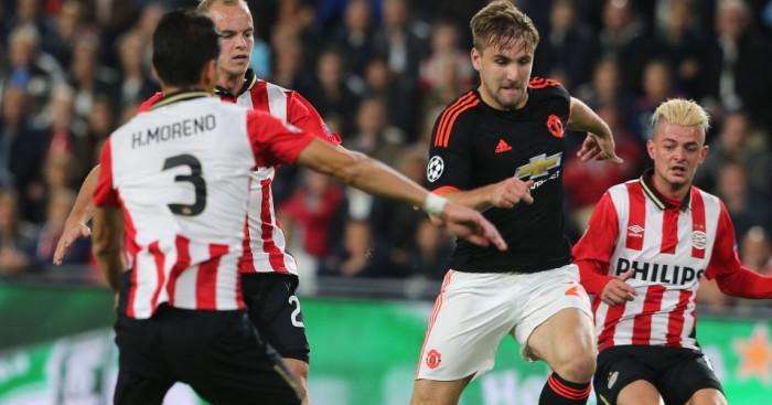Luke Shaw Hector Moreno Manchester United v PSV Eindhoven TEAMtalk