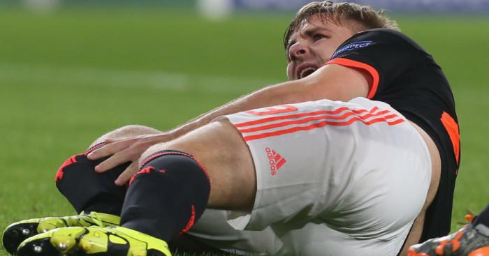 Luke Shaw: Lies in agony after breaking his leg