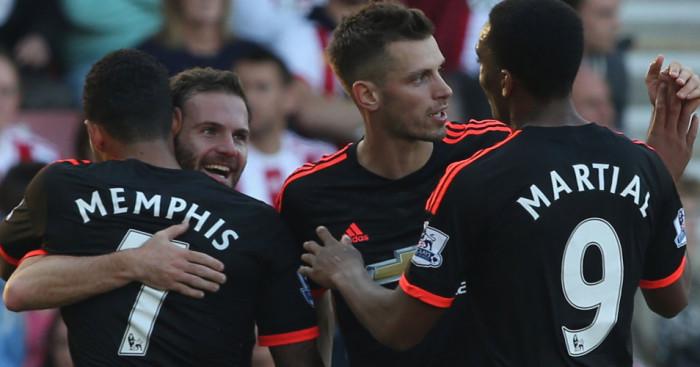 Manchester United celebrate Juan Mata TEAMtalk