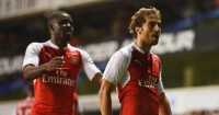 Mathieu Flamini Celebrates scoring for Arsenal in Capital One Cup win at Tottenham