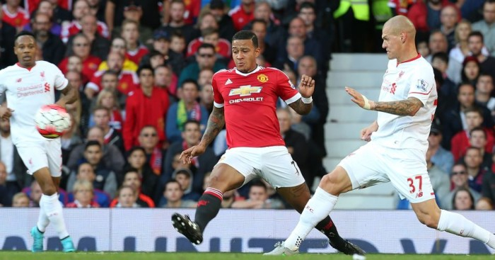 Memphis Depay : In action for Manchester United against Liverpool