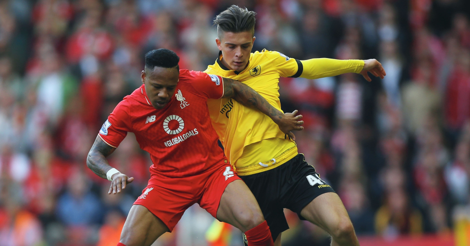 Nathaniel Clyne: Liverpool defender tangles with Villa's Jack Grealish