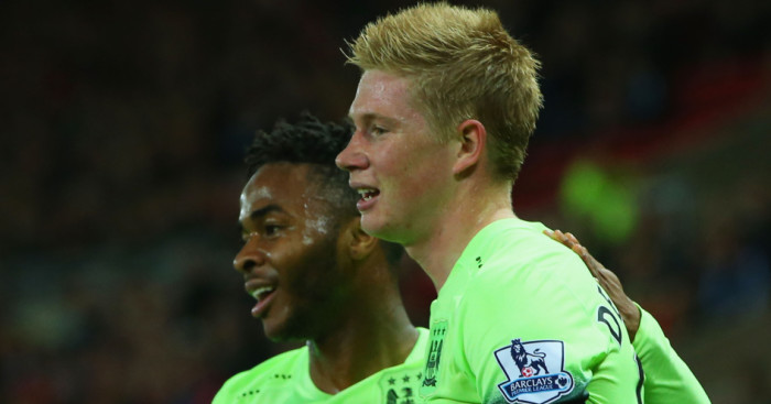 Raheem Sterling: Celebrates with fellow Manchester City goalscorer Kevin De Bruyne