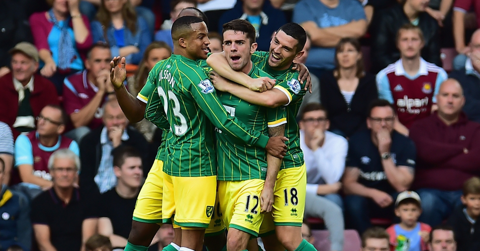 Robbie Brady: Celebrates Norwich's opener against West Ham