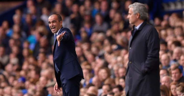 Roberto Martinez (left): Everton got the better of Jose Mourinho's Chelsea