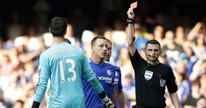Thibaut Courtois: Chelsea goalkeeper shown red card against Swansea