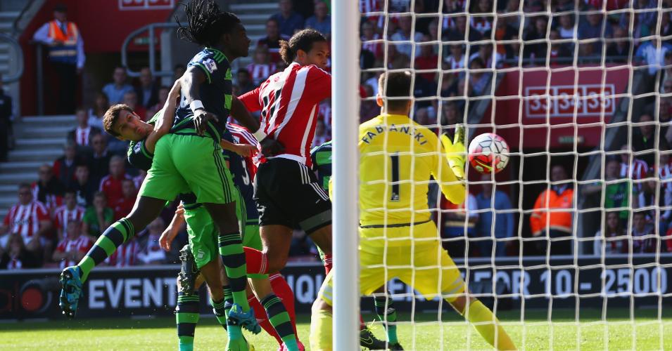 Virgil van Dijk: Scores Southampton's opener against Swansea