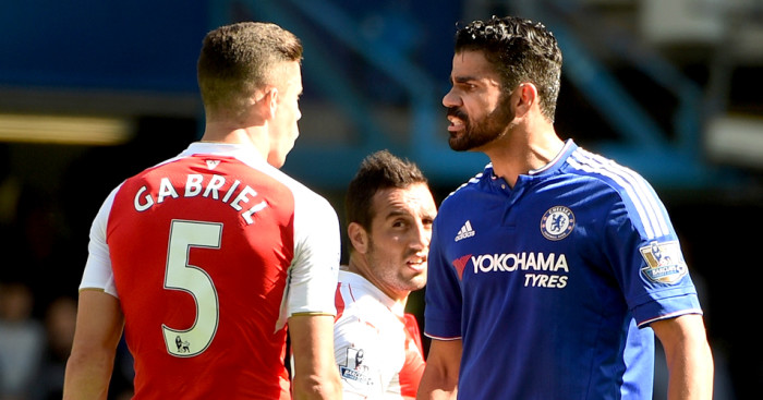 Diego Costa (r): Could face a three-match ban for his clash with Gabriel (l)
