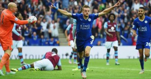 Jamie Vardy: Celebrates his dramatic equaliser for Leicester