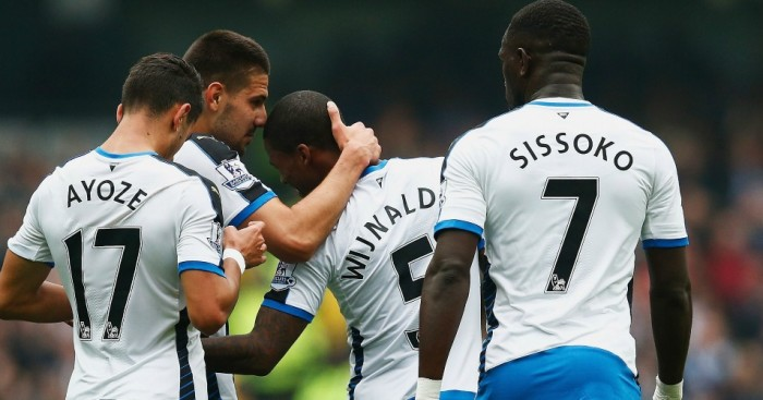 Aleksander Mitrovic: Celebrates Newcastle's opener at Manchester City