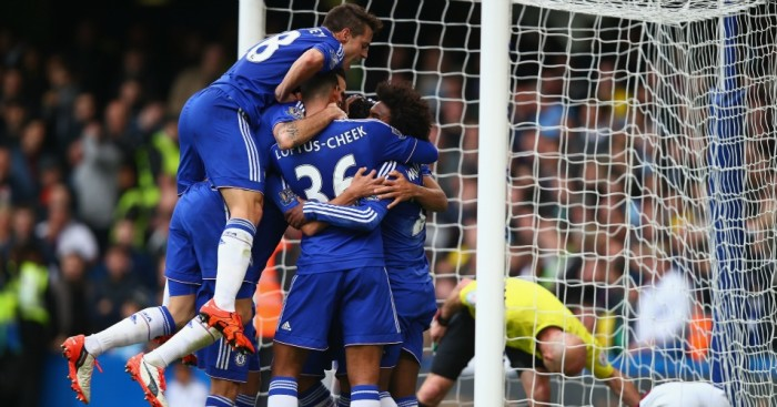 Chelsea: Celebrate goal against Aston Villa last weekend