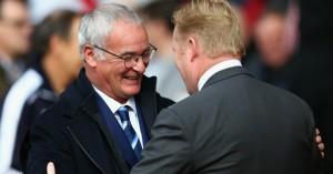 Claudio Ranieri: Greets Ronald Koeman at St Mary's