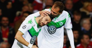 Daniel Caligiuri (left): Put Wolfsburg ahead against Manchester United
