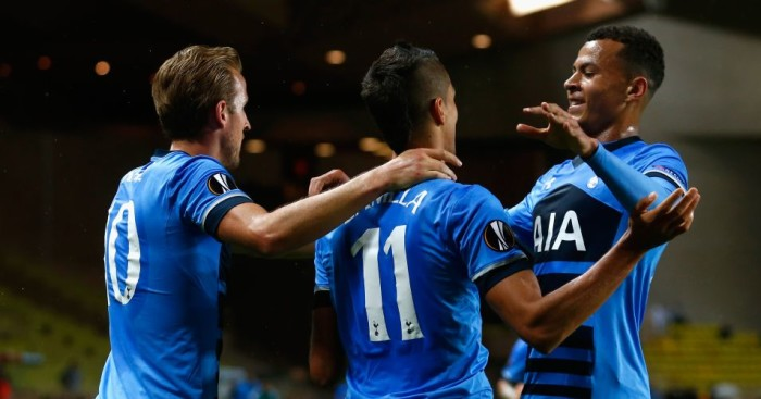 Erik Lamela: Celebrates putting Tottenham ahead against Monaco