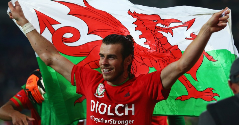 Gareth Bale: Celebrates Wales' qualification for Euro 2016
