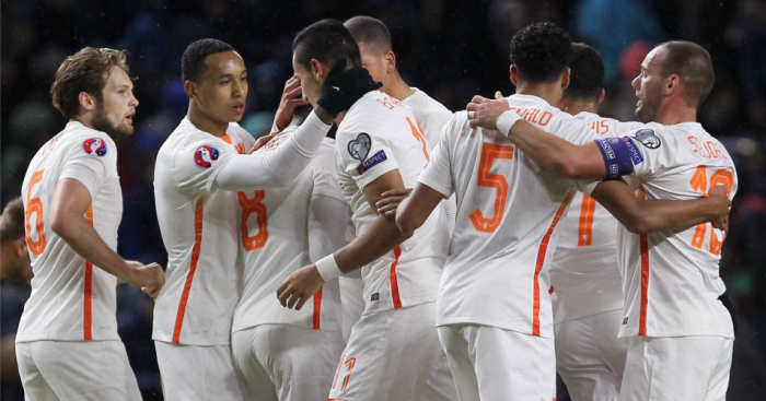 Holland: Celebrate their win on Saturday night