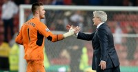 Mark Hughes: Congratulates Jack Butland after Stoke's win over Chelsea