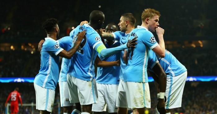 Manchester City: Celebrates Kevin De Bruyne's winner against Sevilla