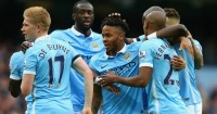 Raheem Sterling (c): Celebrates against Bournemouth
