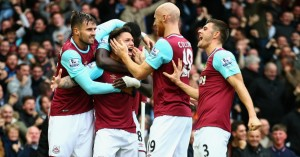 Mauro Zarate: Celebrates his goal for West Ham against Chelsea