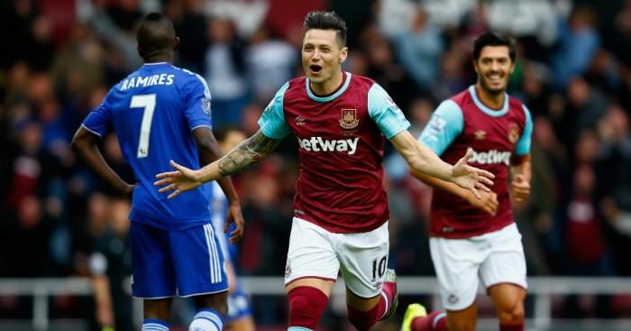 Mauro Zarate: Celebrates scoring for West Ham against Chelsea