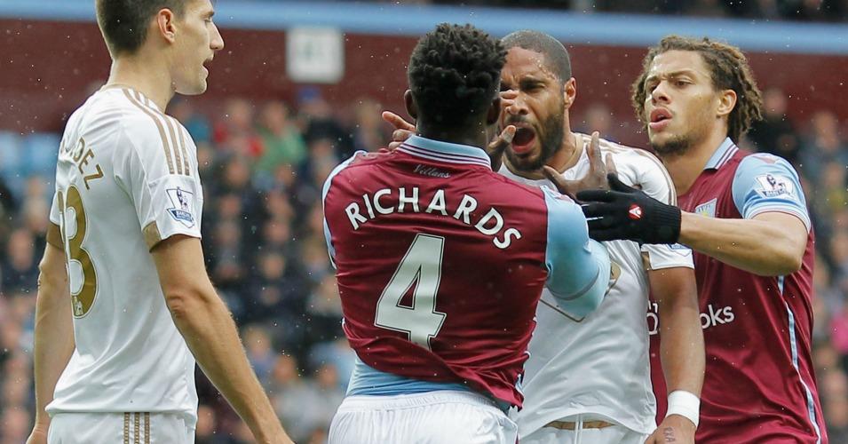 Micah Richards Ashley Williams Aston Villa v Swansea TEAMtalk