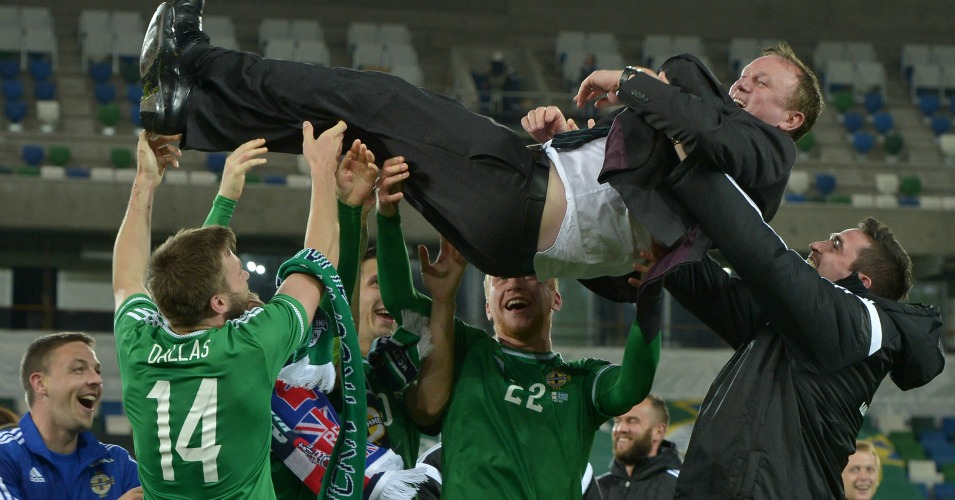 Michael O'Neill: Celebrates after Northern Ireland beat Greece to reach Euro 2016