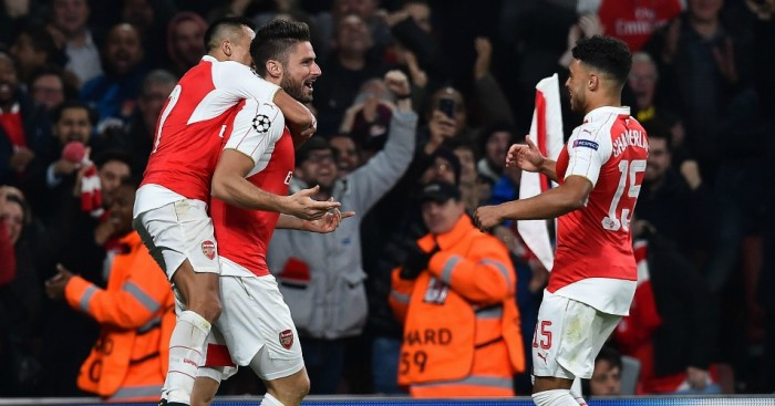 Olivier Giroud: Celebrates Arsenal's opener against Bayern Munich