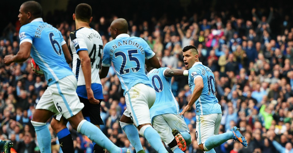 Sergio Aguero: Celebrates his first of five goals against Newcastle