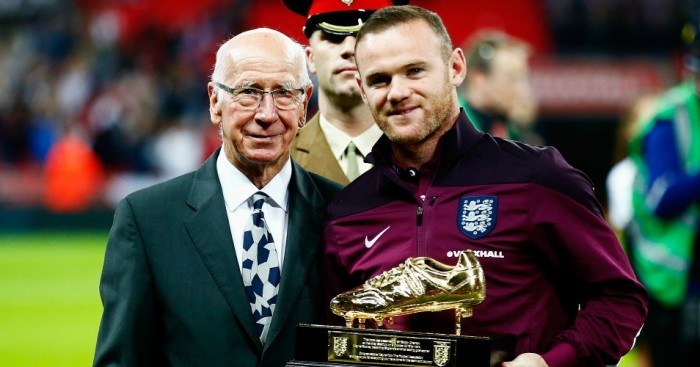 Wayne Rooney: Collects his England golden boot from Sir Bobby Charlton