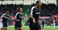 Troy Deeney: Celebrates his goal for Watford at Stoke