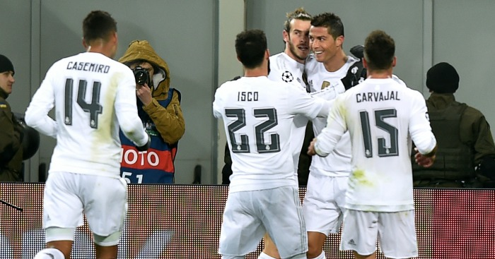 Cristiano Ronaldo: Celebrates scoring for Real Madrid against Shakhtar Donetsk